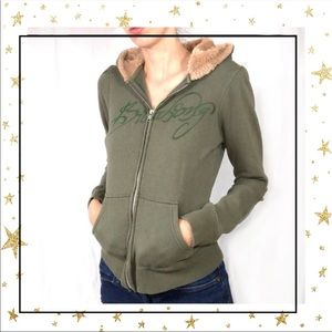 Billabong Olive Green Faux fur Hooded zip up (C8)